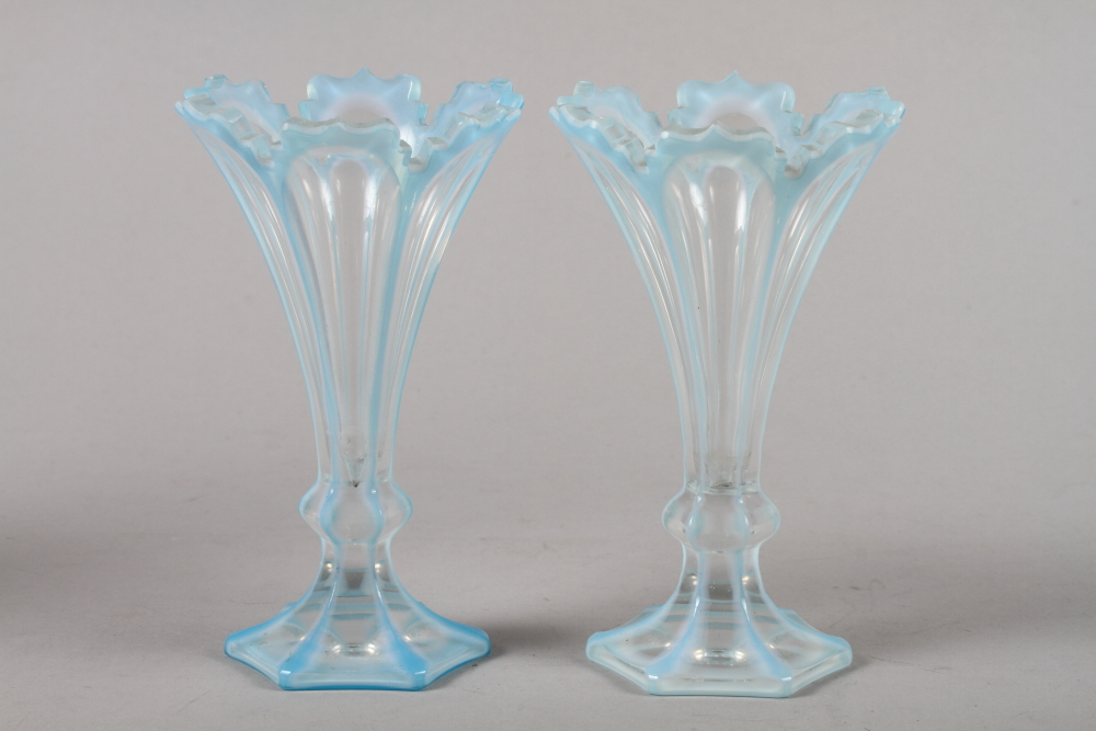 Lot 44 - An art glass decanter and stopper, an Edwardian cut glass tazza, a pair of blue overlay and cut