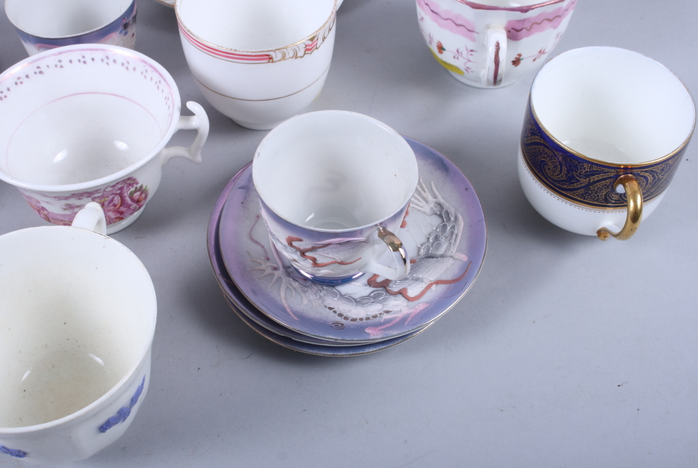 """Lot 53 - A Miles Mason proto """"Willow"""" pattern part teaset, a pair of Hilditch and Sons cups and saucers and"""