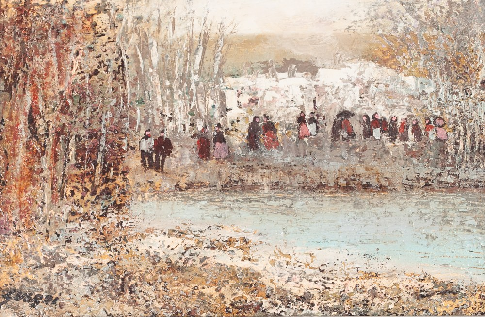 """Lot 218 - J. GIMENO GUERRI OIL PAINTING ON CANVAS Landscape with figures Signed lower left, signed verso 9"""""""