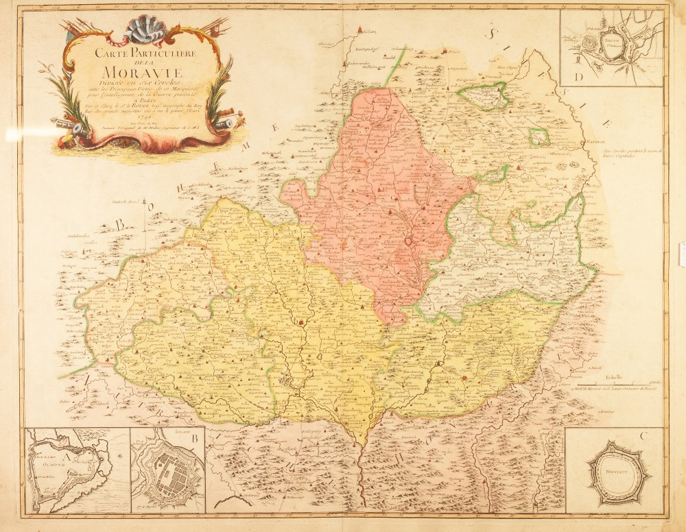 "Lot 155 - LE ROUGE 1742 A FRENCH ENGRAVED AND HAND COLOURED MAP OF MORAVIA 20"" X 25 1/4"" (51cm X 64cm)"