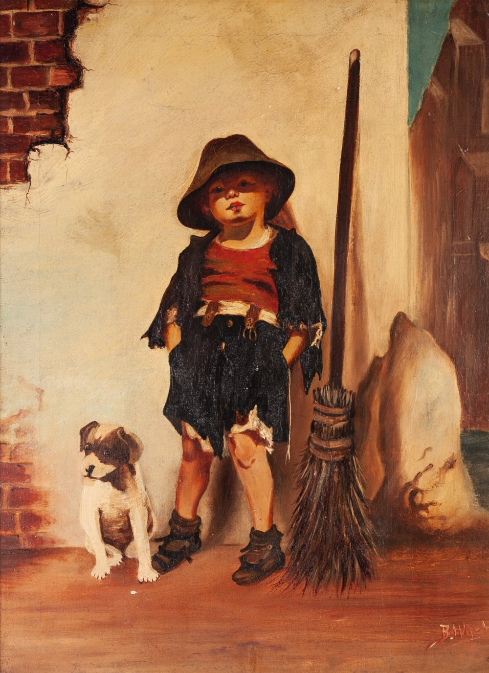 Lot 255 - B.HALL (TWENTIETH CENTURY) OIL PAINTING ON BOARD Young boy leaning against a wall with dog and broom