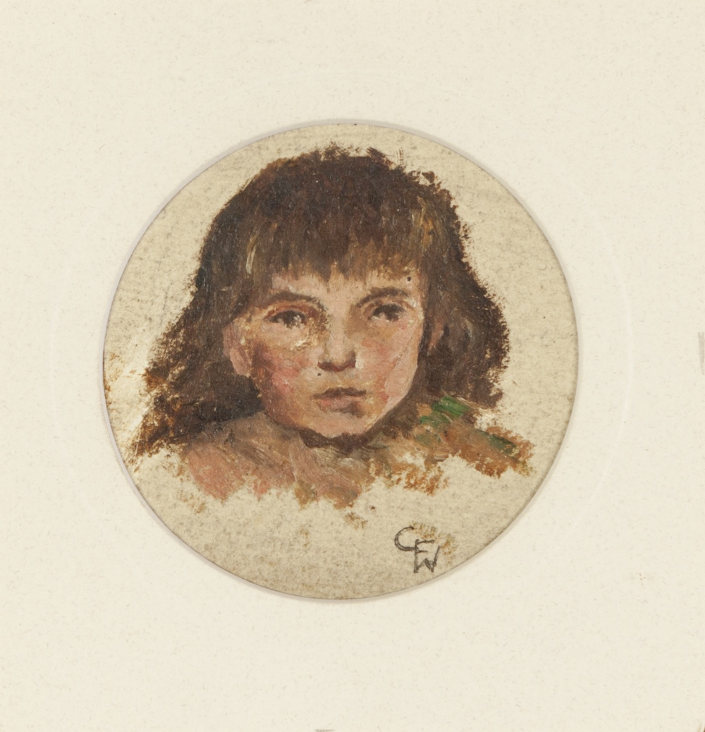 Lot 207 - ASCRIBED TO GEORGE FREDERICK WATTS R.A. OIL ON PAPER, CIRCULAR Study of a young girl's head Signed