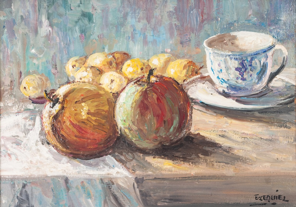 """Lot 217 - EZEQUIEL OIL PAINTING ON CANVAS Still life of fruit and cup and saucer Signed lower right 9 1/2"""" x"""