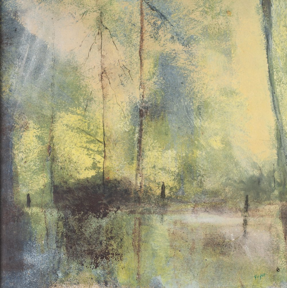 Lot 213 - MALCOLM FRYER (b. 1937) OIL PAINTING ON CARD 'Father and Son, in the Park' Signed lower right,