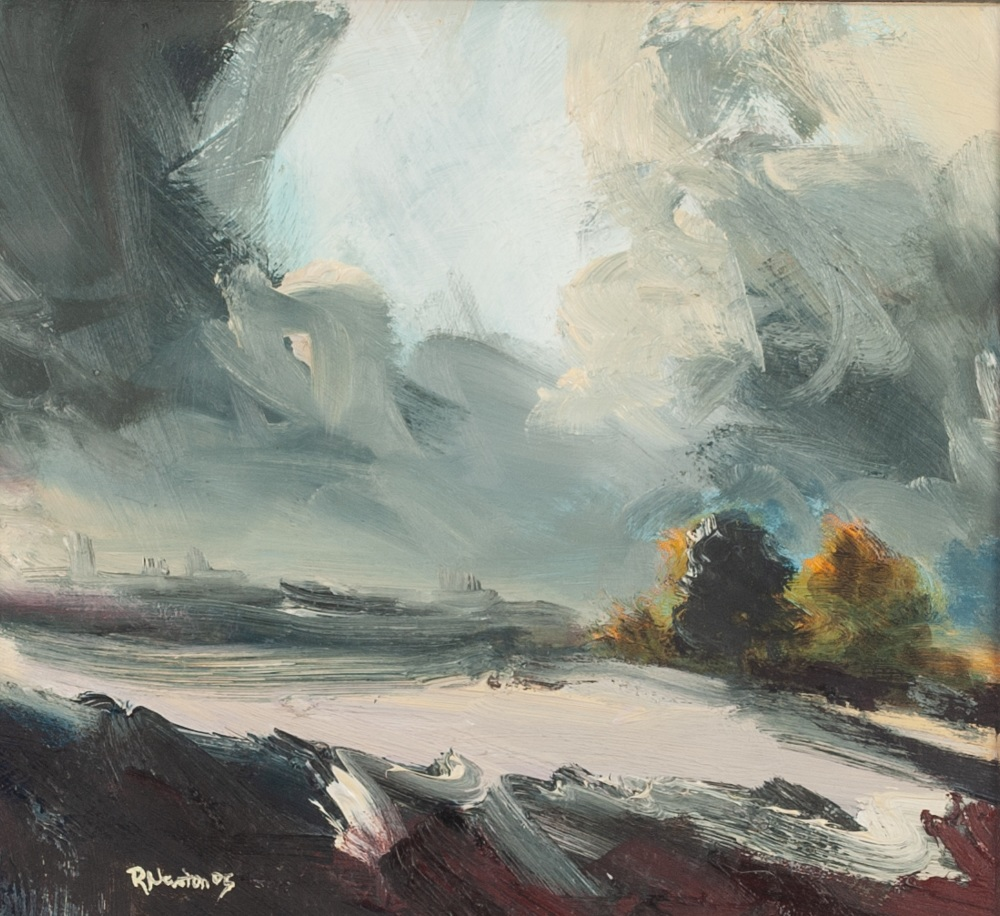 Lot 211 - ROBERT NEWTON (b. 1964) OIL PAINTING ON BOARD 'Clearing Skies' Signed and dated (20)05 lower left,