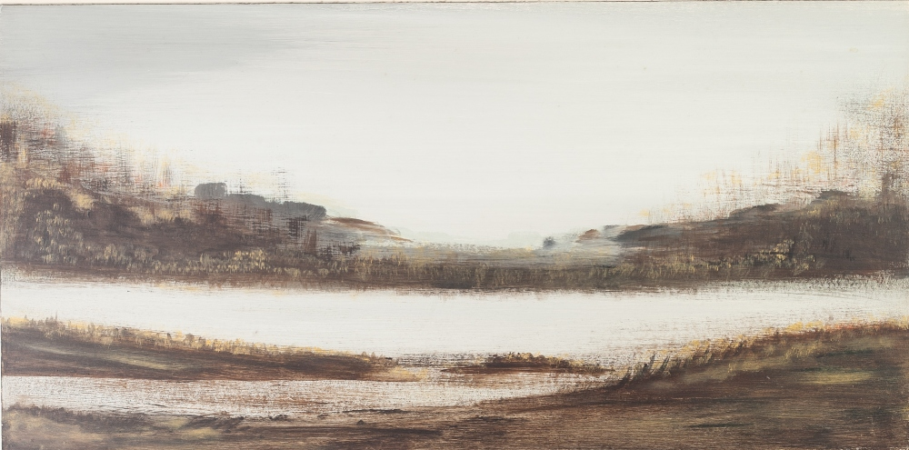 """Lot 260 - MARY McCARTNEY OIL PAINTING ON BOARD An abstract landscape Unsigned 12"""" x 24"""" (30.4 x 60.9cm)"""