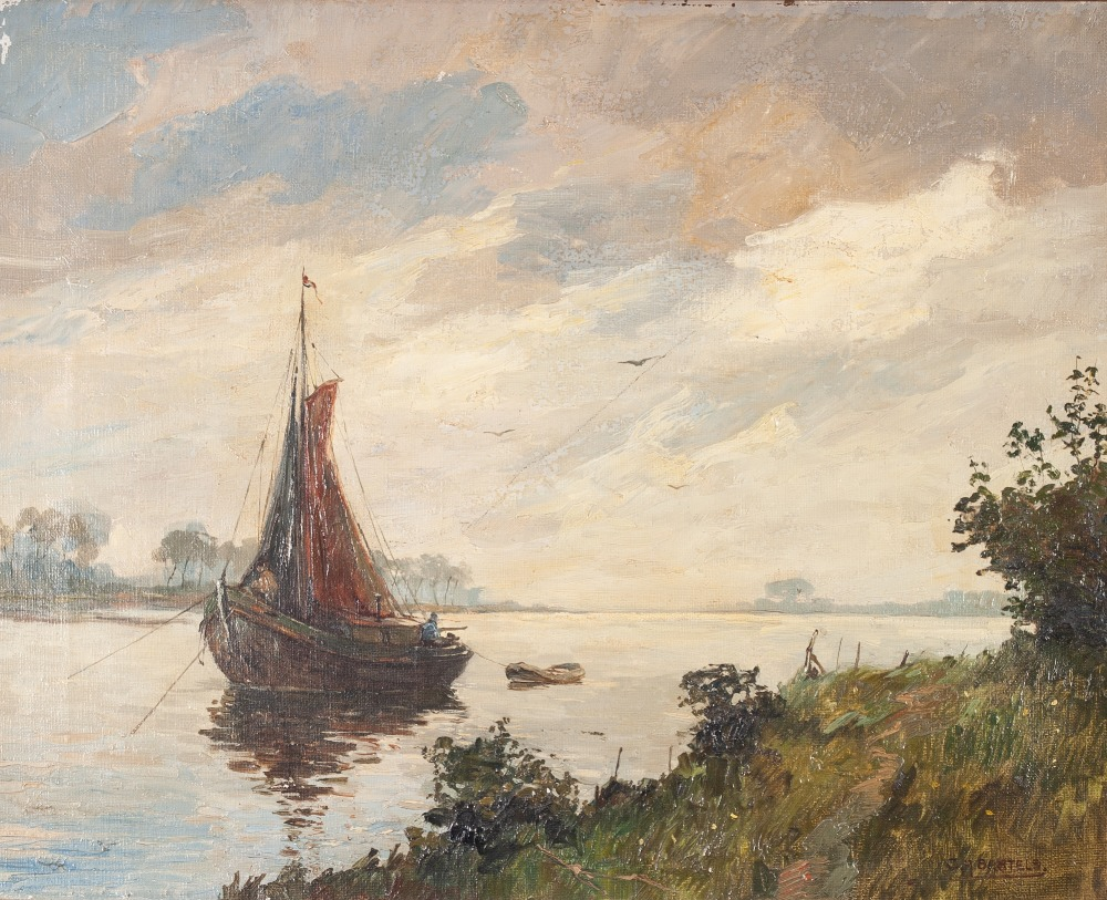 Lot 241 - CORNELIUS ANTON BARTLES (b. 1890) OIL PAINTING ON CANVAS River landscape in Holland, with fishing