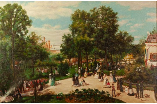 "Lot 235 - SEBASTIAN (TWENTIETH CENTURY) OIL PAINTING ON CANVAS Edwardian figures in a park Signed 23 ½"" x"