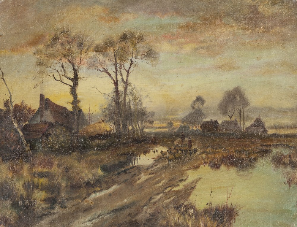 Lot 250 - B.A.H. (EARLY TWENTIETH CENTURY) OIL PAINTING ON CANVAS Rural scene with figures, sheep and cottages