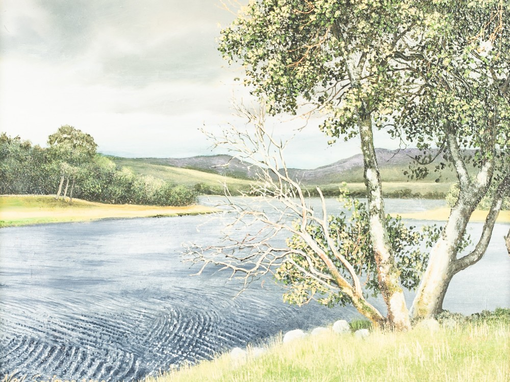 "Lot 244 - NEIL SPILMAN (b 1951) OIL PAINTING ON BOARD 'Clearing Sky over Loch Rannoch' 5 1/2"" x 7 1/2"" (14 x"
