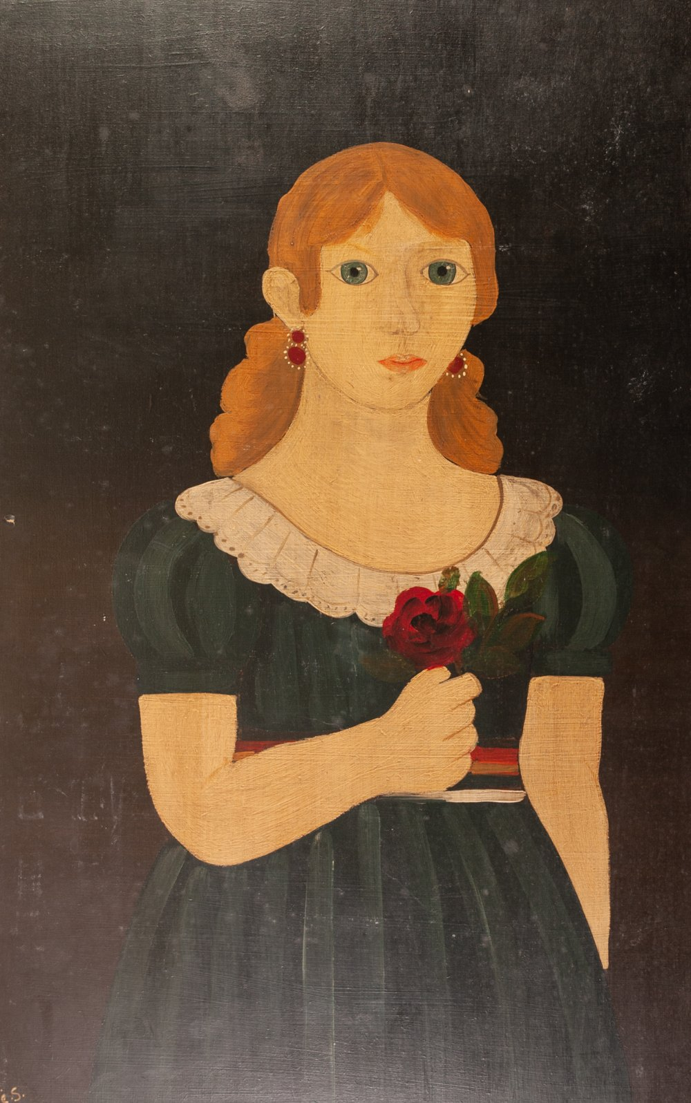 Lot 245 - MODERN PASTICHE OIL PAINTING ON PANEL Primitive three quarter length portrait of a young woman