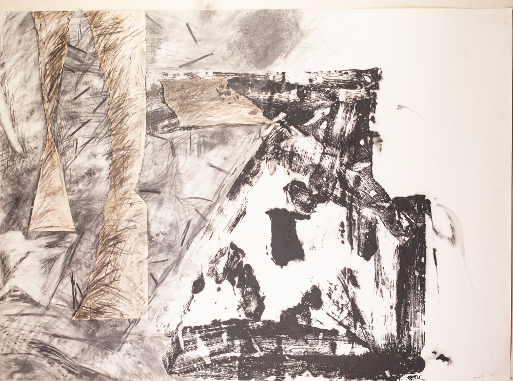 Lot 330 - WHITE (Modern) TWO SIMILAR MIXED MEDIA DRAWINGS WITH COLLAGE on paper both signed and dated (19)