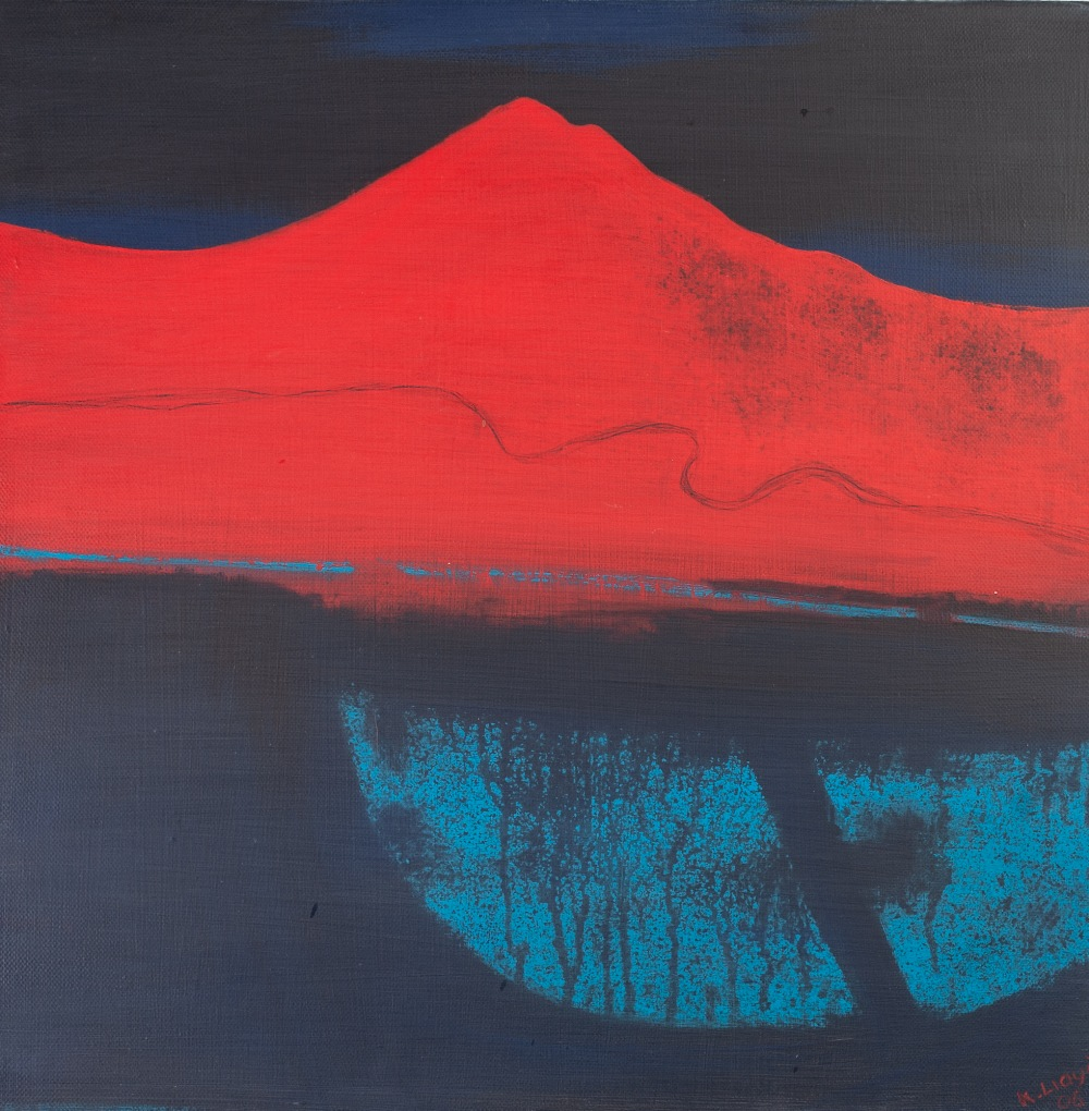 Lot 221 - KAREN LLOYD OIL PAINTING ON CANVAS 'Red Hillside' Signed and dated (209)06 lower right, signed and