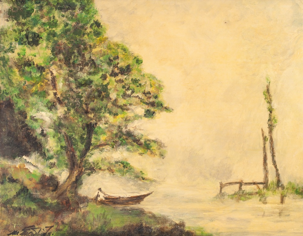 Lot 258 - MARGARET McCARTNEY TWO OIL PAINTINGS ON DALER BOARD Wooded river landscapes Each signed and dated (