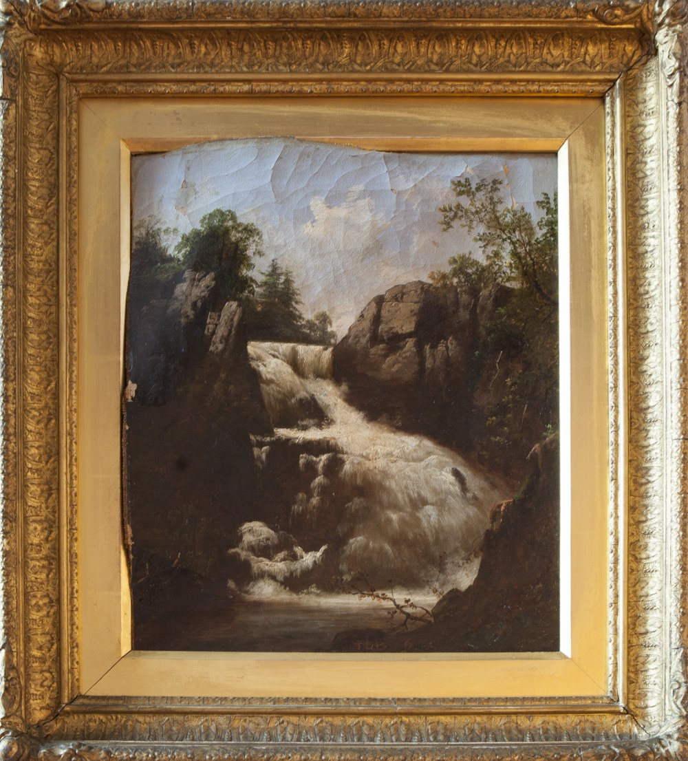 Lot 238 - 19TH CENTURY ENGLISH SCHOOL PAIR OF OIL PAINTINGS ON CANVAS 'WATERFALLS' SIGNED WITH INITIALS T.S.B.
