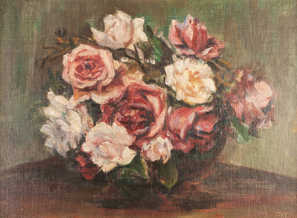 Lot 203 - PATTI MAYOR (1872-1962) OIL PAINTING ON CANVAS BOARD Roses in a bowl Signed lower right, labelled