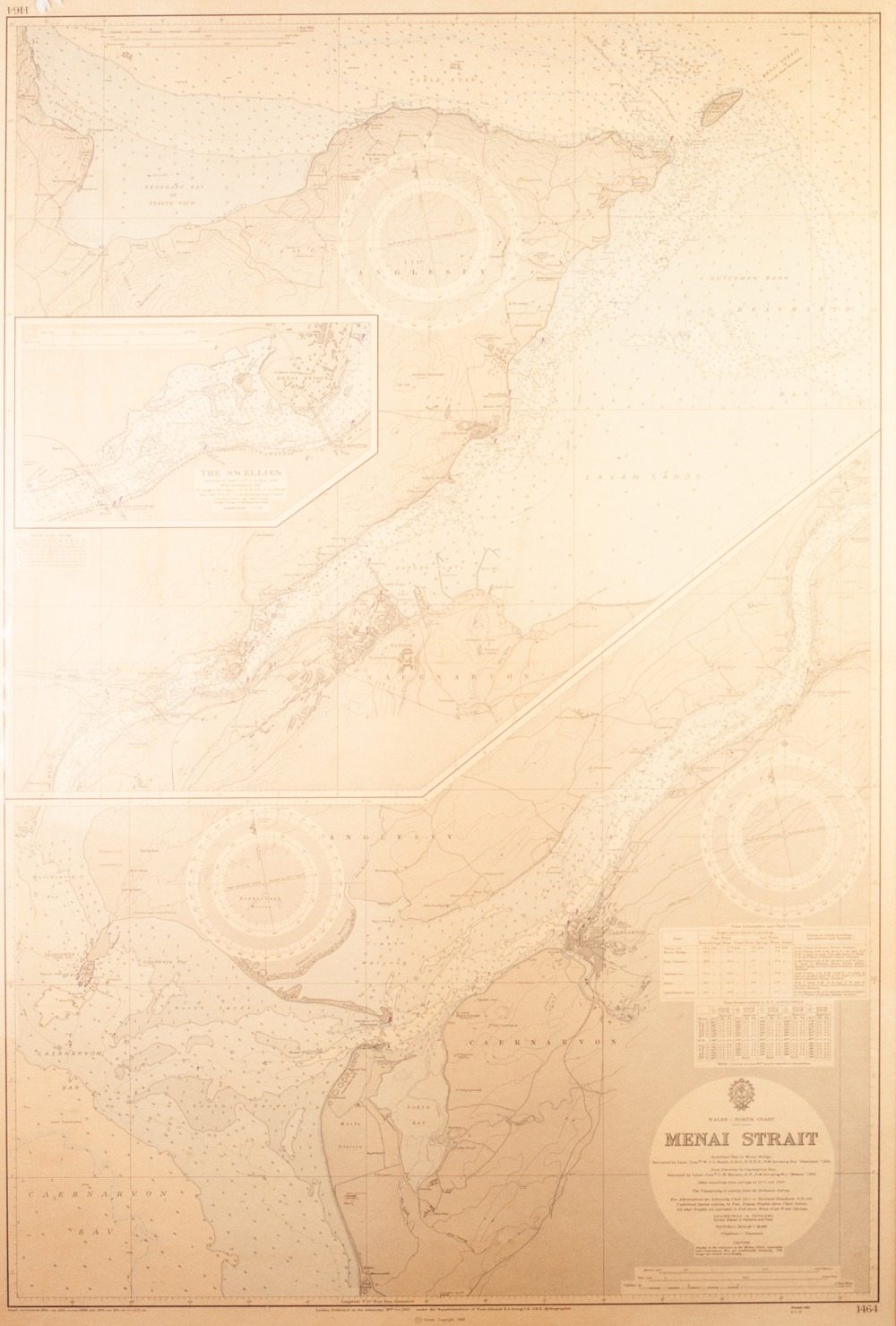 Lot 153 - LARGE MAP OF THE MENAI STRAIT PUBLISHED AT THE ADMIRALTY, 1963 Including a vignette of 'THE