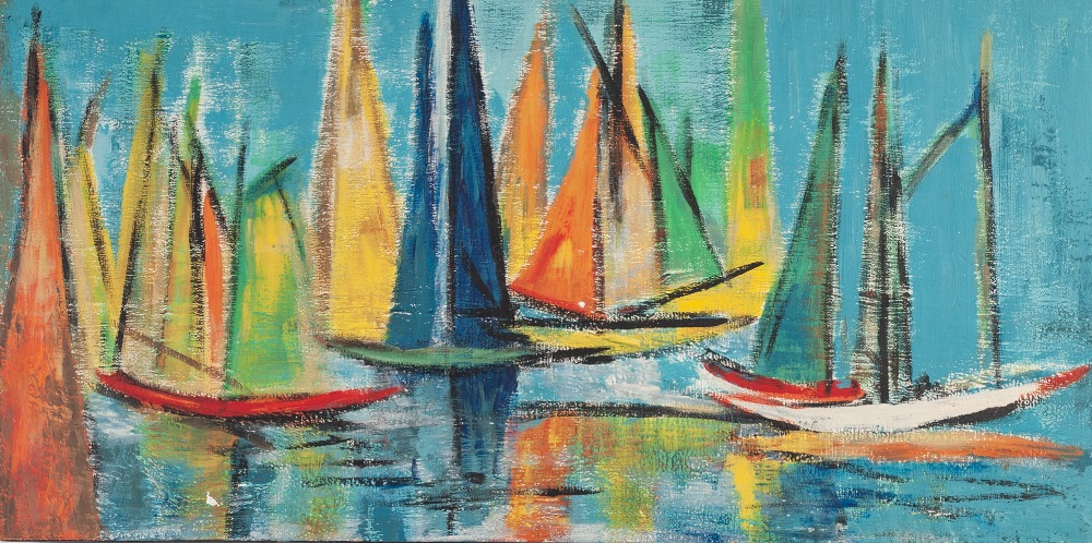 """Lot 257 - MARGARET McCARTNEY OIL PAINTING ON DALER BOARD 'Before the Race' Signed and titled verso 12"""" x"""