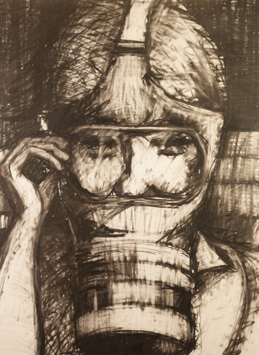 Lot 328 - CONTEMPORARY ARTIST MIXED MEDIA BLACK AND WHITE DRAWING OF A FIGURE wearing goggles, holding a