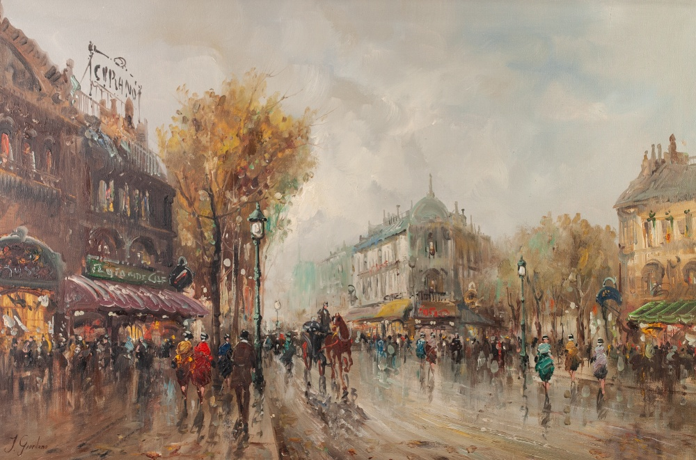 Lot 263 - J. GIORDANO (TWENTIETH/ TWENTY FIRST CENTURY) OIL PAINTING ON CANVAS Parisienne street scene