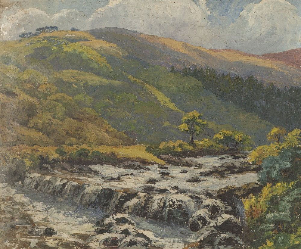 Lot 252 - UNATTRIBUTED (TWENTIETH CENTURY) OIL PAINTING ON BOARD Rural landscape with river in the