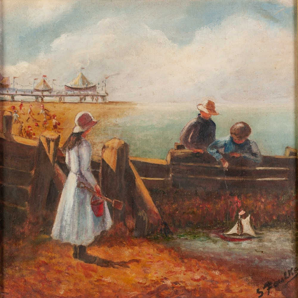 """Lot 231 - S. FOULKES OIL ON CANVAS Colwyn Bay Signed lower right 10"""" x 10"""" (25 1/2 x 25 ½ cm)"""