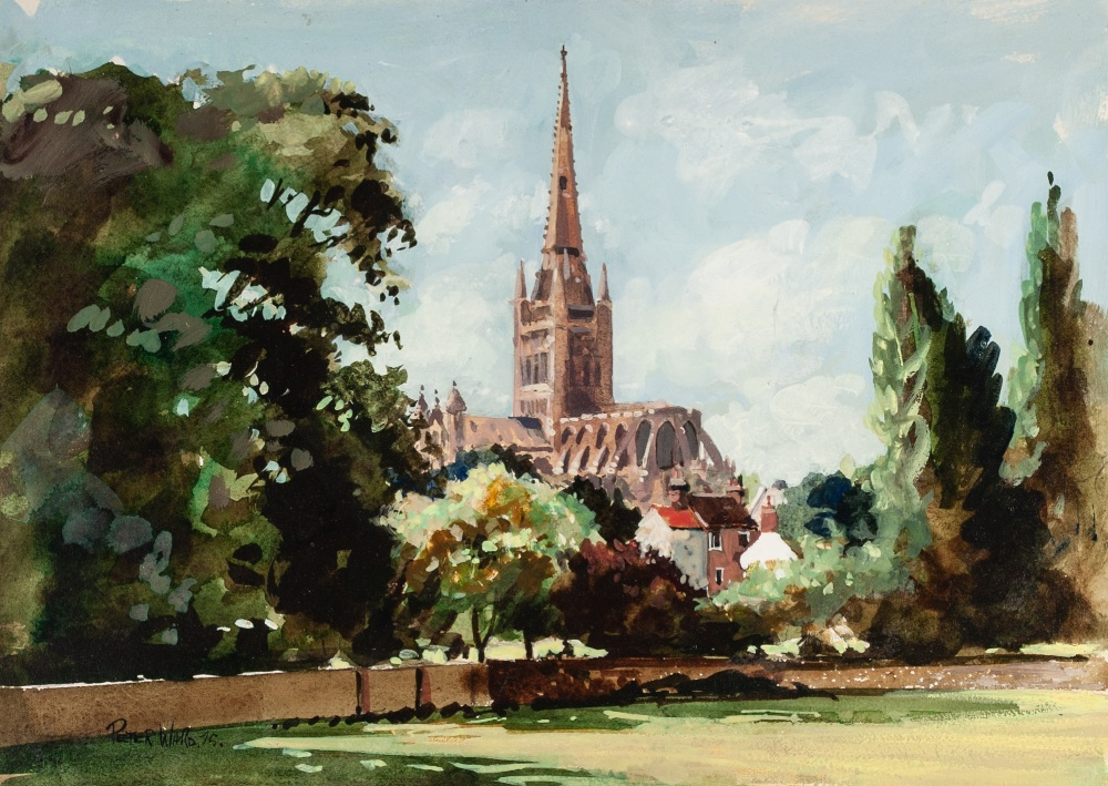 Lot 240 - PETER WARD (MODERN) ACRYLIC ON BOARD Norwich Cathedral Signed and dated (19)75 lower left 10 1/4""