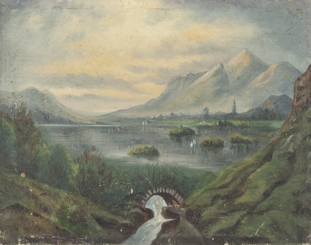 Lot 253 - UNATTRIBUTED (NINETEENTH CENTURY) OIL PAINTING ON CANVAS Mountainous river landscape with stone