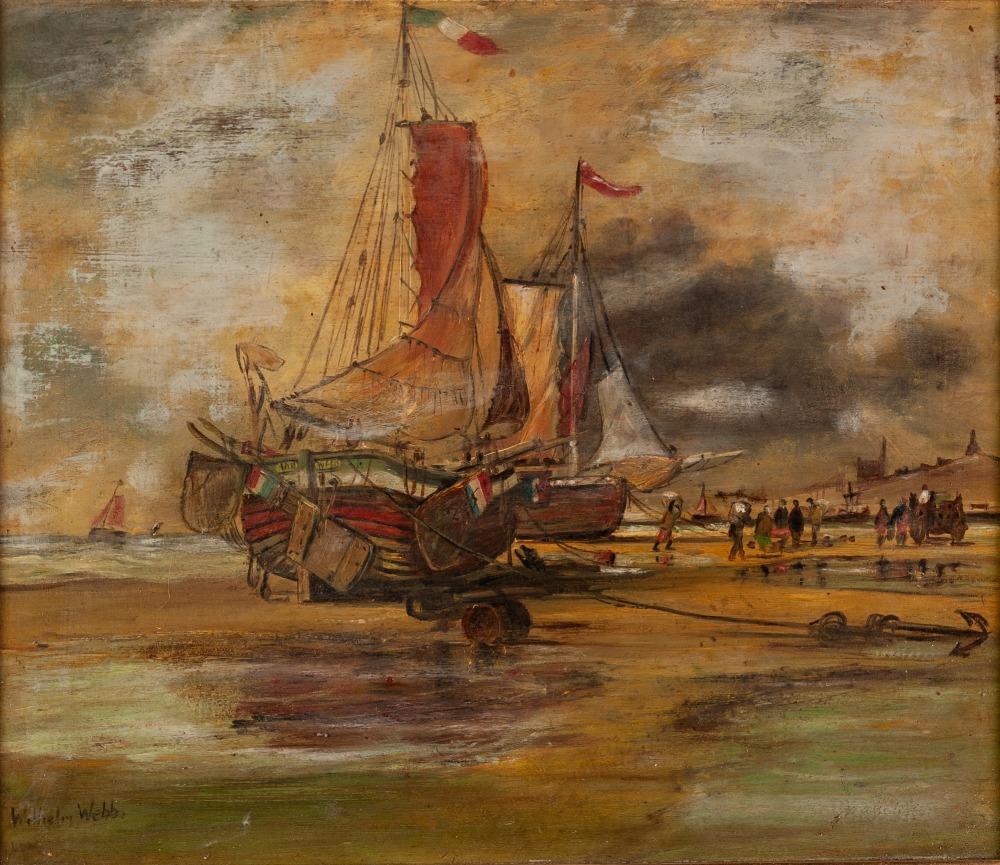 Lot 229 - WILHELM WEBB (1790 - 1856) OIL ON BOARD Boats anchored off Peel, Isle of Man Signed lower left 11