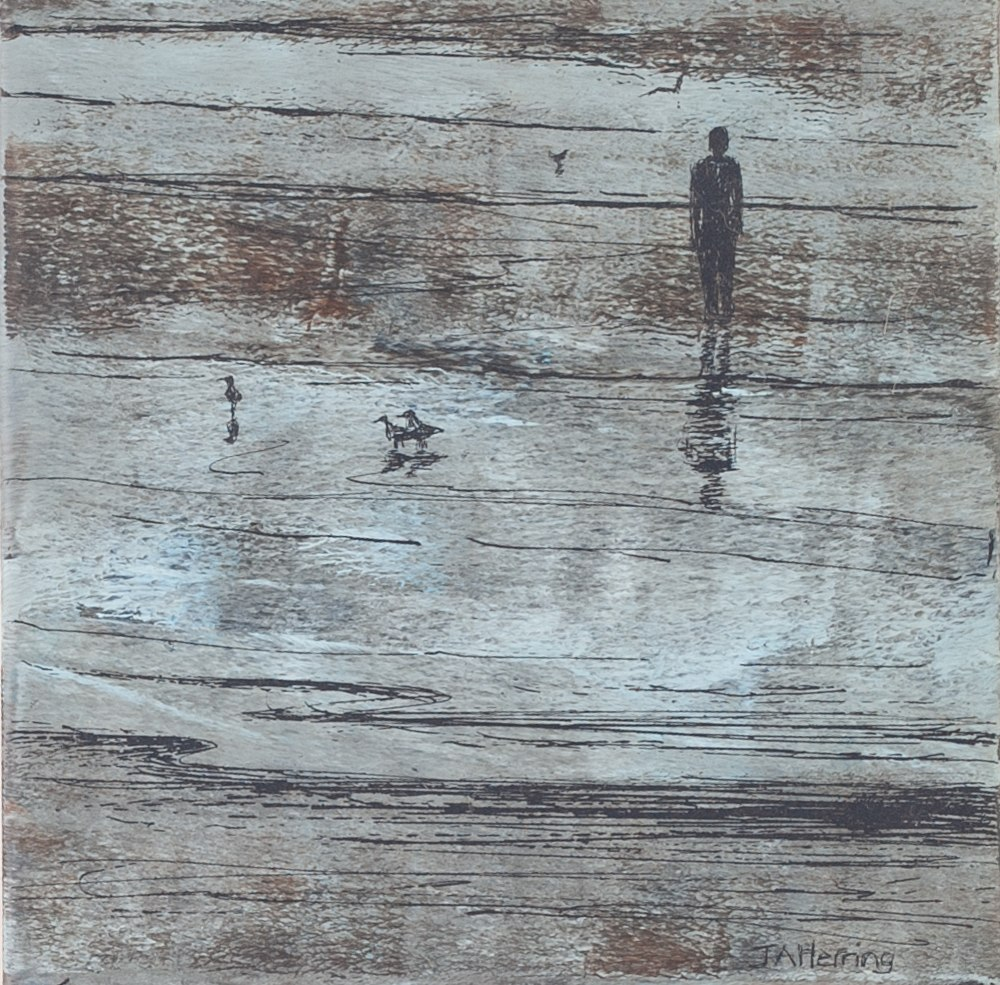 Lot 320 - JUDITH A HERRING MIXED MEDIA ON BOARD Beach scene with figures Signed lower right, artist card verso
