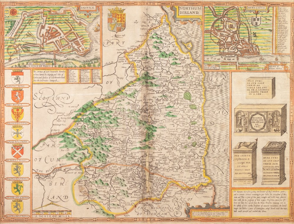 Lot 154 - JOHN SPEED (1610) ENGRAVED AND HAND COLOURED COUNTY MAP of Northumerland Published by Sudbury and