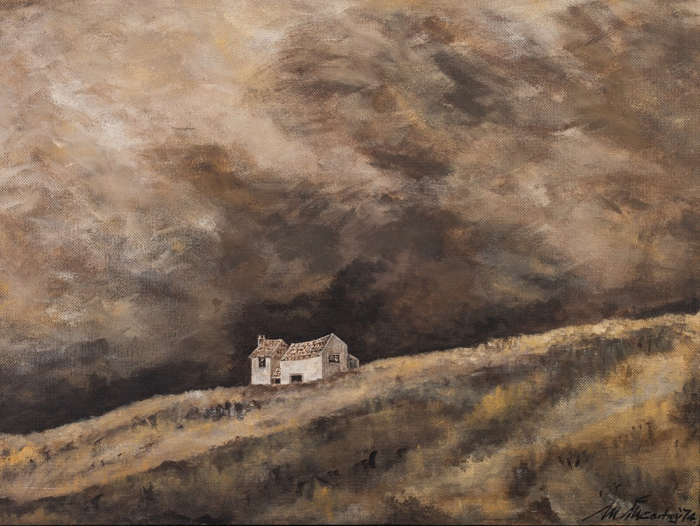 Lot 226 - MARGARET McCARTNEY OIL PAINTING ON BOARD Upland landscape with cottage Signed and dated (19)74 lower