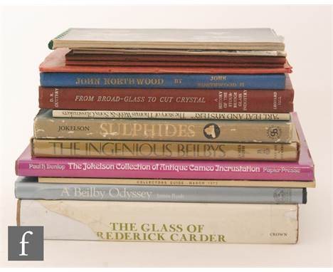 Fifteen assorted books on glass to include 'A Beilby Odyssey' by James Rush, 'Glass Notes' by Arthur Churchill Ltd, 'The Glas