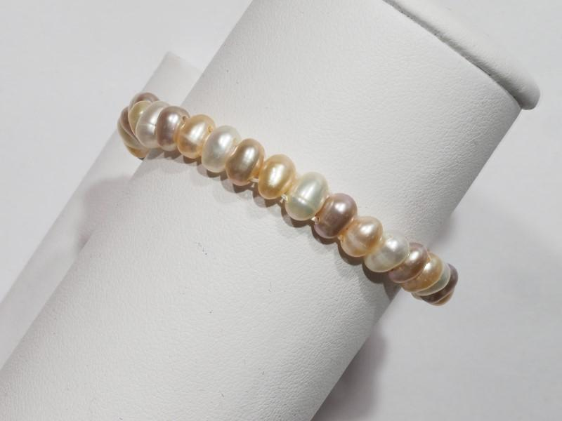 Lot 21 - Freshwater Peach Pearl(June Birthstone) Flexible Bracelet, Retail $120 (MS19 - 30)