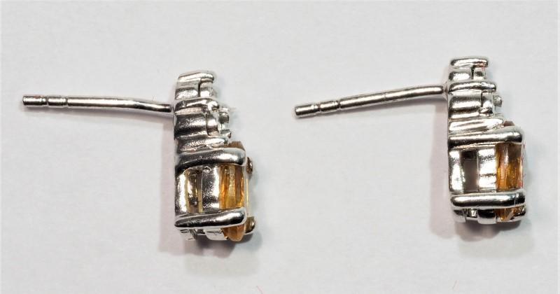 Lot 7 - Sterling Silver Citrine Diamond Earrings, Retail $200 (MS19 - 1)