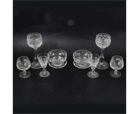 Stuart Crystal suite of 'Victoria' pattern table glass, mostly eight-place setting, to include liqueur glasses, wine glasses,