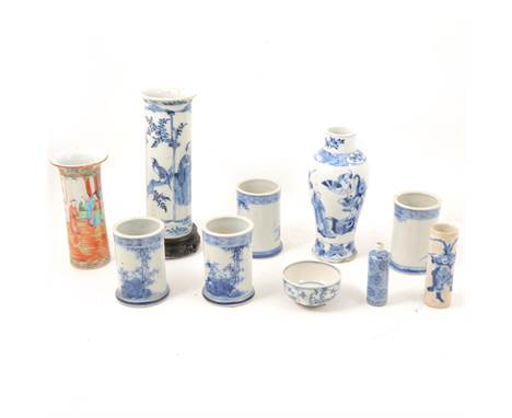 Cantonese famille rose cylindrical vase with a flared collar, painted four character mark, 15.5cm; a blue and white vase of s