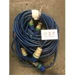 3x 20m arctic blue cable, 32a ends