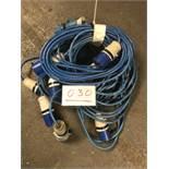 5x 10m arctic blue cable, 32a ends
