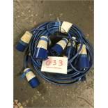 5x 5m arctic blue cable, 32a ends