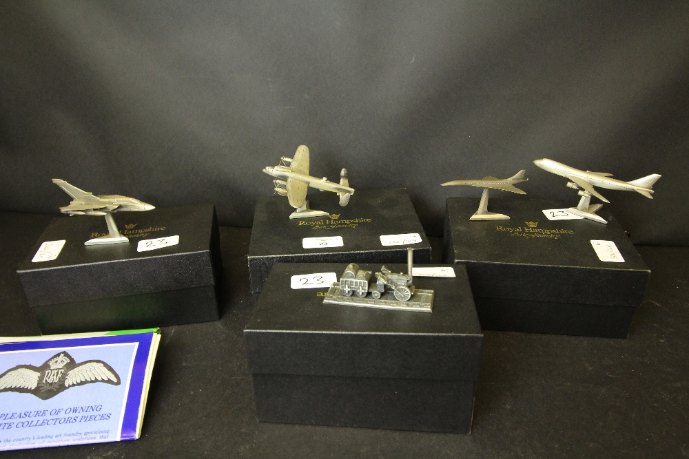 Lot 23 - Royal Hampshire Art Foundry Pewter Models - Lancaster Bomber and Spitfire, 747, Concorde, Tornado,