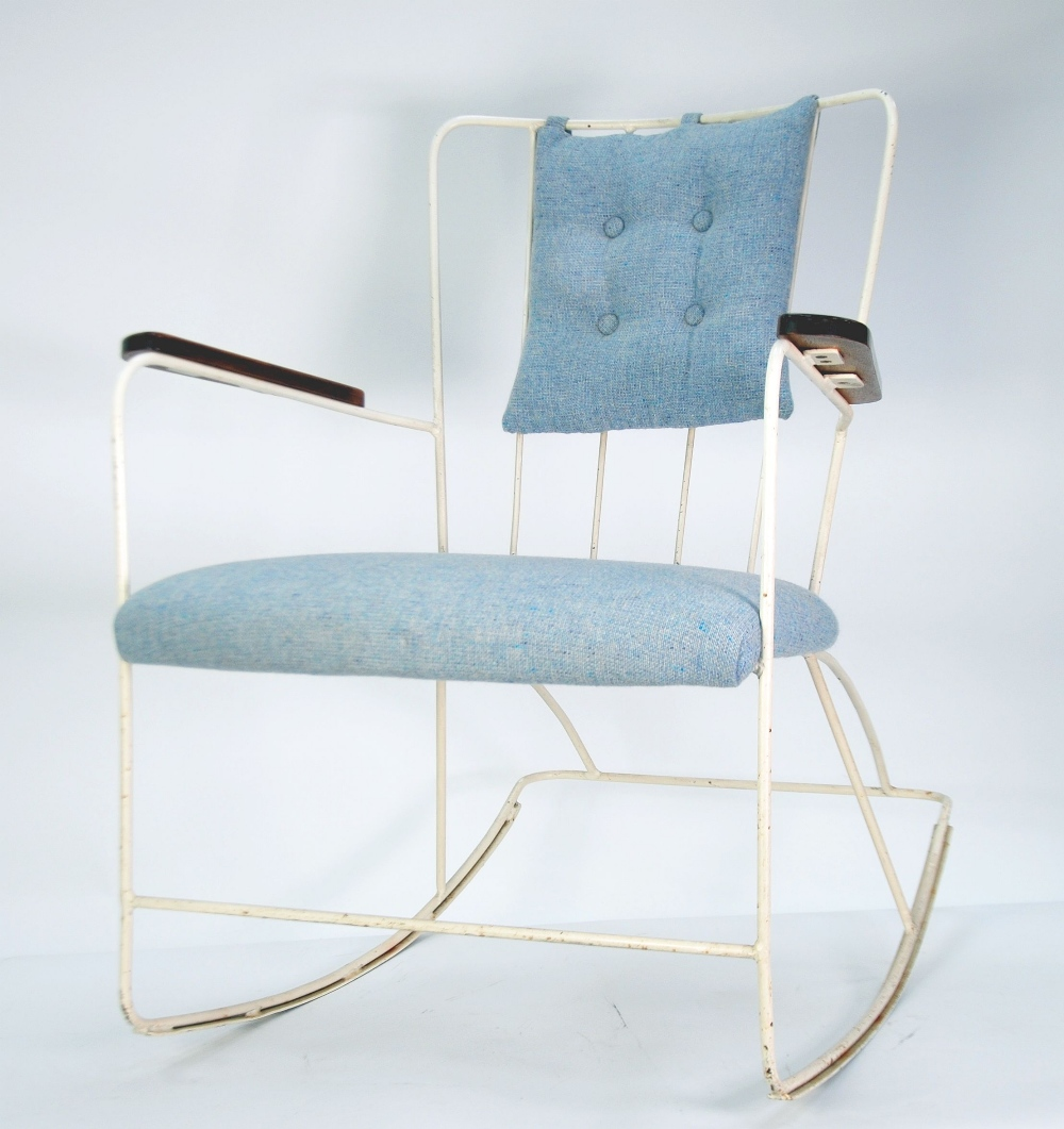 ERNEST RACE FOR \'RACE FURNITURE LTD.\' WHITE PAINTED METAL ROCKING ...