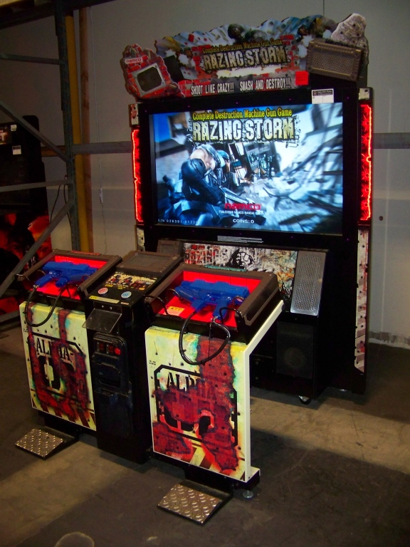 "Lot 165 - RAZING STORM DX 55"" SHOOTER ARCADE GAME NAMCO"
