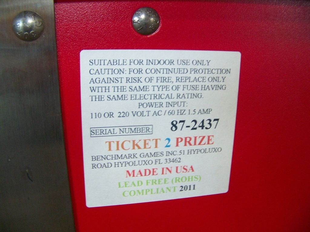 Lot 183 - TICKETS TO PRIZES SELF VEND PRIZE REDEMPTION CTR