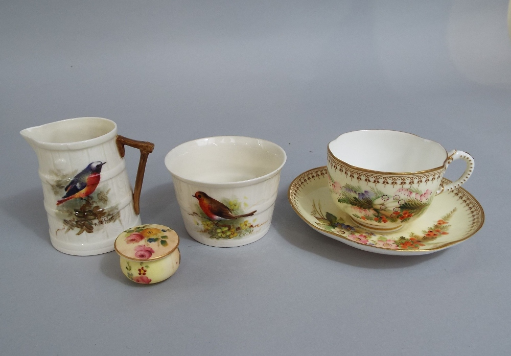 Lot 53 - A collection of Royal Worcester wares including a coopered jug with painted decoration of a