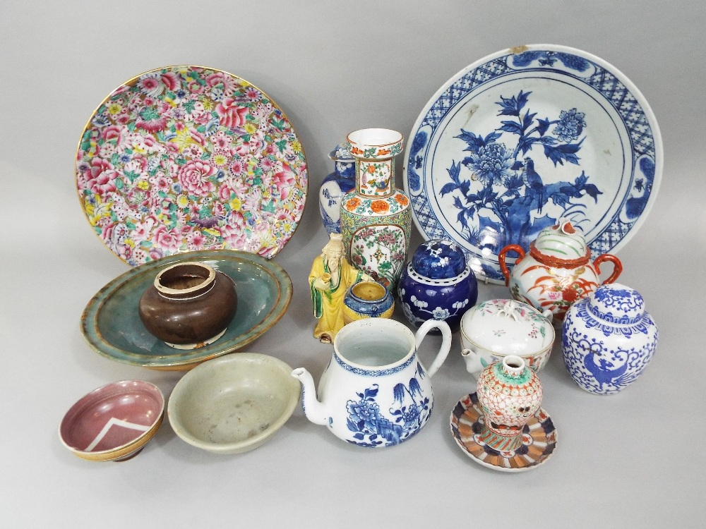 Lot 71 - A Chinese blue and white teapot in the Kangxhi manner (missing cover) together with further oriental
