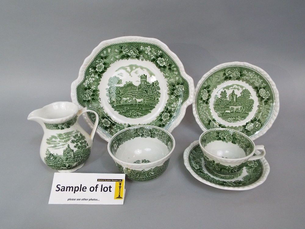Lot 70 - A collection of Adams green printed teawares from the English Scenic series comprising cake plate,