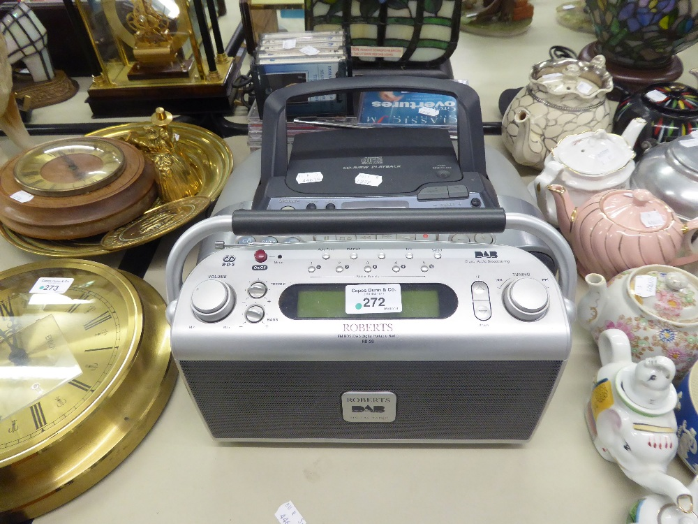 Lot 272 - SONY PORTABLE RADIO AND CD PLAYER AND A QUANTITY OF CD's AND A ROBERTS DAB PORTABLE RADIO