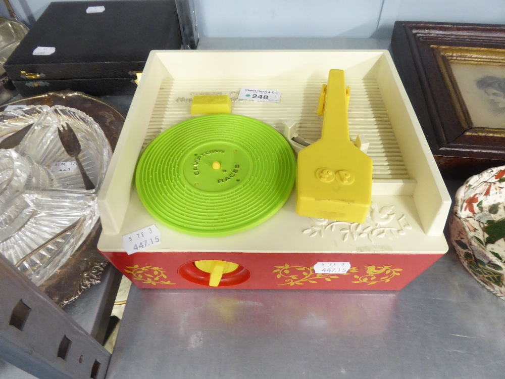Lot 248 - FISHER PRICE, CHILD'S RECORD PLAYER AND FIVE RECORDS