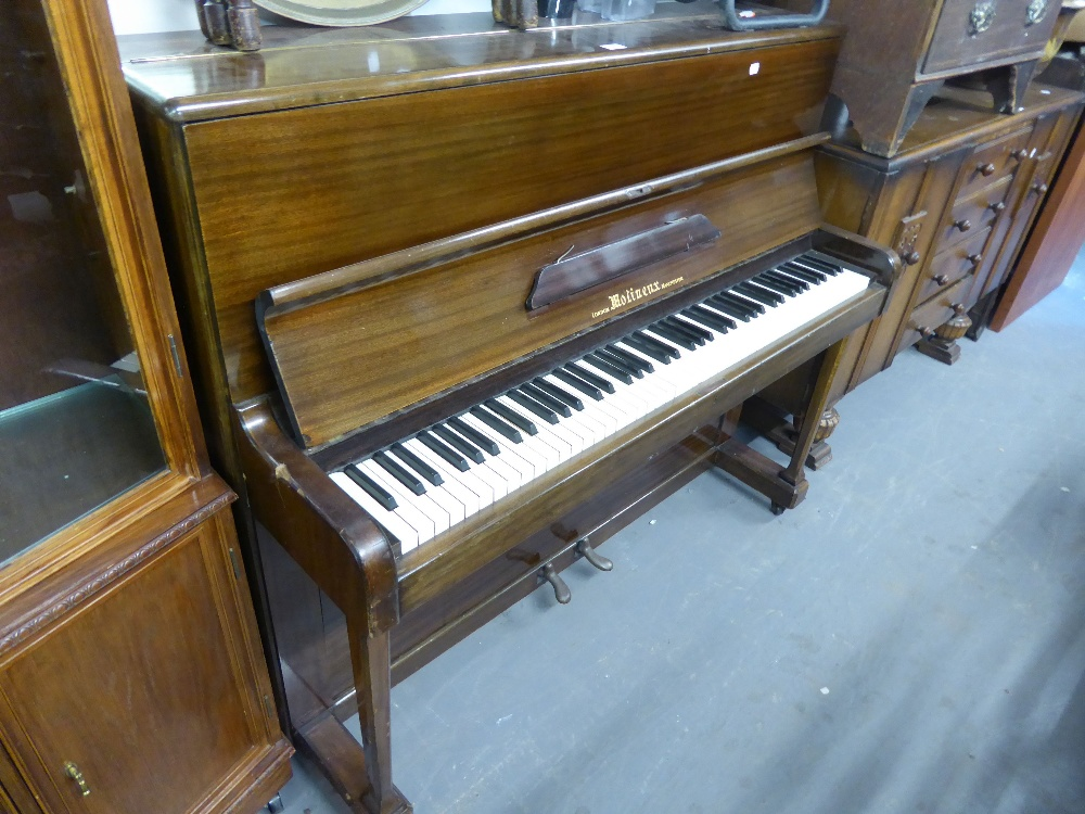 Lot 27 - MOLINEUX, MAHOGANY CASED UPRIGHT PIANOFORTE, iron framed, No. 58845